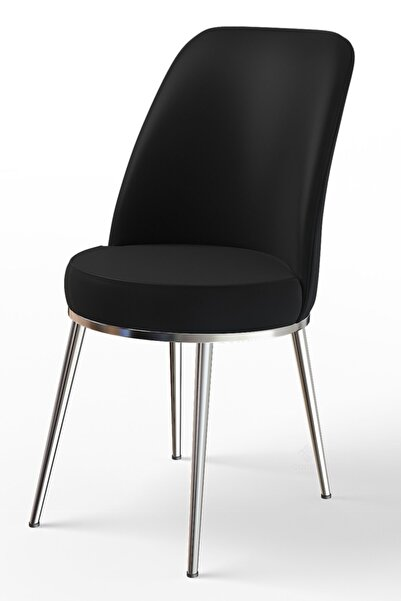 Canisa Concept Dexa Serisi Siyah Renk Sandalye Mutfak Sandalyesi, Yemek Sandalyesi Ayaklar Parlak Krom