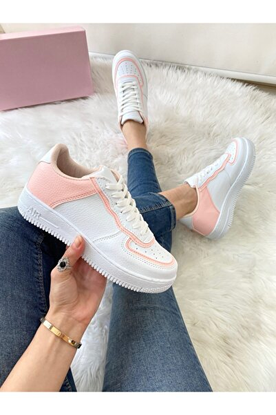 ELSESHOES Kadın Pudra Beyaz Sneaker