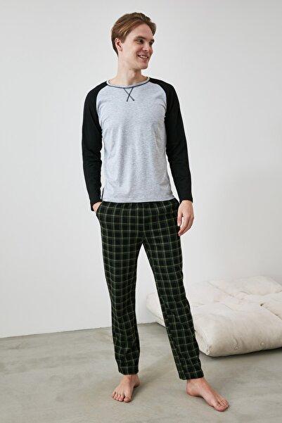 TRENDYOL MAN Yeşil Ekose Örme Pijama Takımı THMAW21PT0879