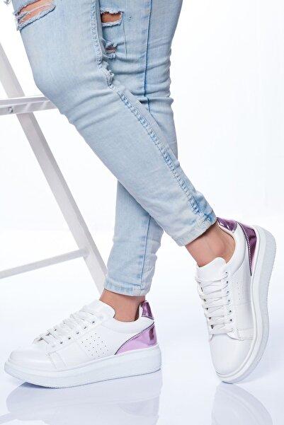 derithy Kadın Beyaz Lila Sneaker