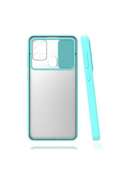 zore Samsung Galaxy A21s Kılıf Buzlu Kamera Lens Sürgülü Korumalı Renkli Silikon Kapak