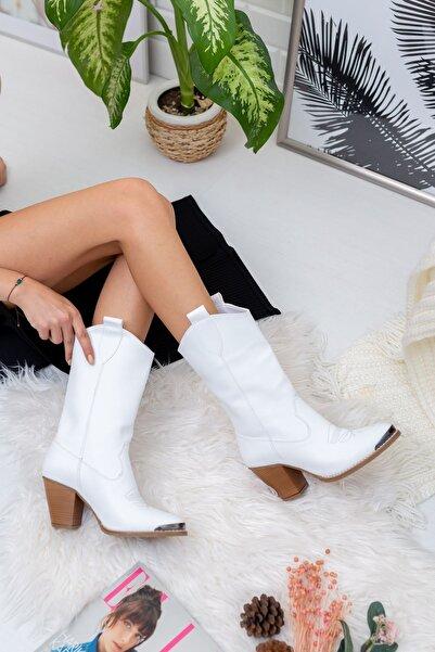 derithy Kadın Beyaz Fendi Çizme byc0301