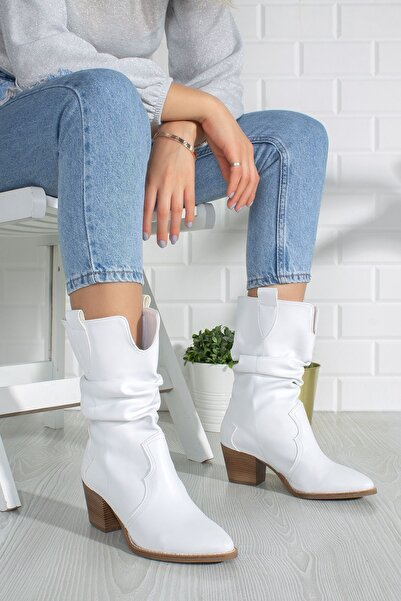 derithy Kadın Beyaz Çizme byc0400