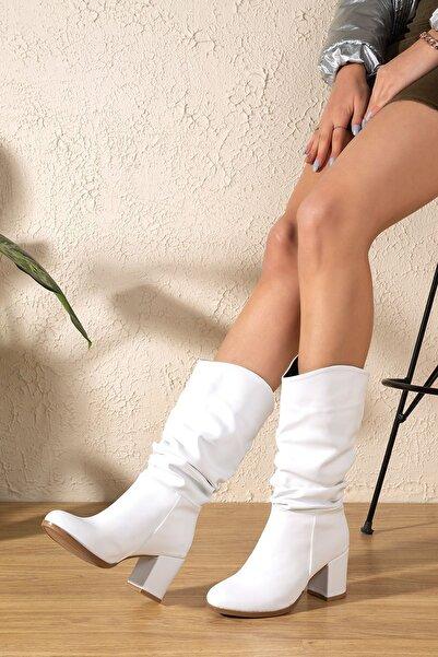 derithy Kadın Beyaz  Çizme pln7550