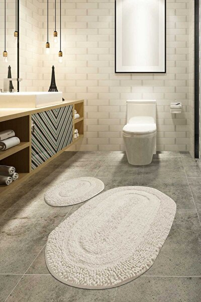 Chilai Home MACORONİ EKRU 2 Lİ SET Banyo Halısı, Paspası %100 Doğal Pamuklu