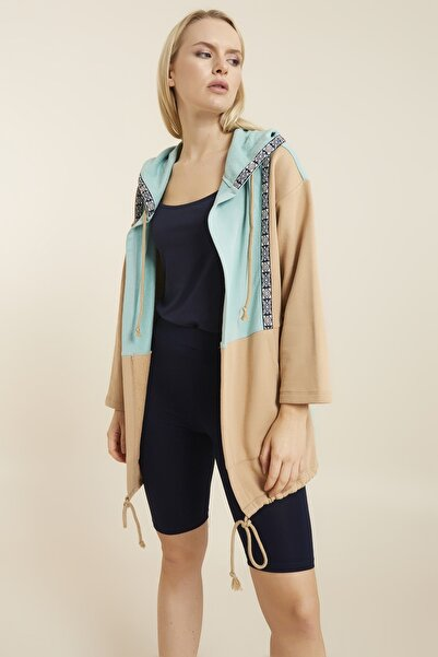 Hanna's by Hanna Darsa Mint Renk Bloklu Şerit Detaylı Kapüşonlu Örme Ceket