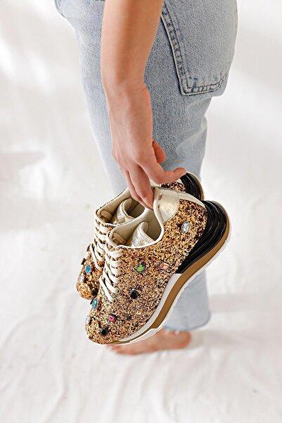 Limoya Kadın Altın Pullu Gerçek Taş Detaylı Sneakers