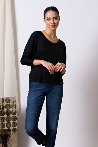 TRENDQUEL Uzun Kollu Siyah Basic Bluz
