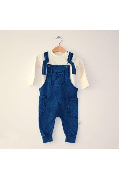 Miniyastore Miniya Mavi Çocuk Bebek Ekru Tişörtlü Salopet Takım