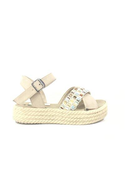 PUNTO Kadın Bej Günlük Hasır Taban Sandalet
