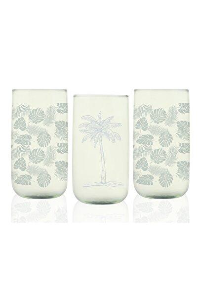 English Home Yeşil Palm Cam 3'lü Meşrubat Bardağı 365 ml