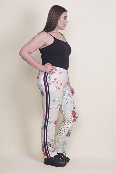 Şans Kadın Bej Yan Şerit Detaylı Beli Lastikli Spor Pantolon 65N21984