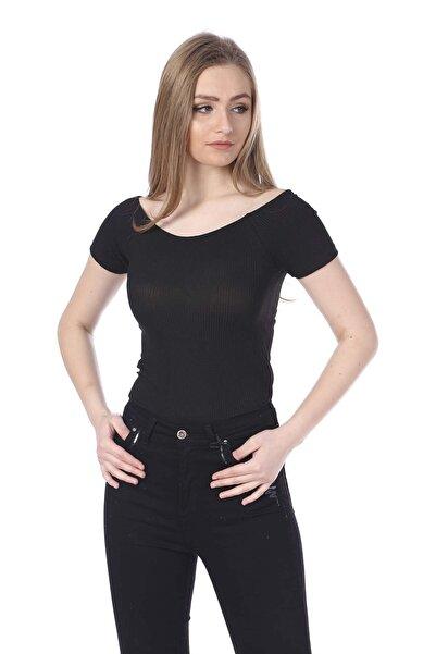 BARRELS AND OIL Kadın Siyah Fitilli Kayık Yaka T-Shirt