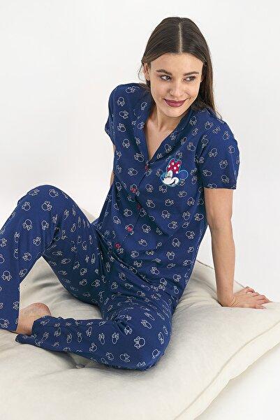 Mickey Mouse Kadın Gömlek Pijama Takımı Lacivert