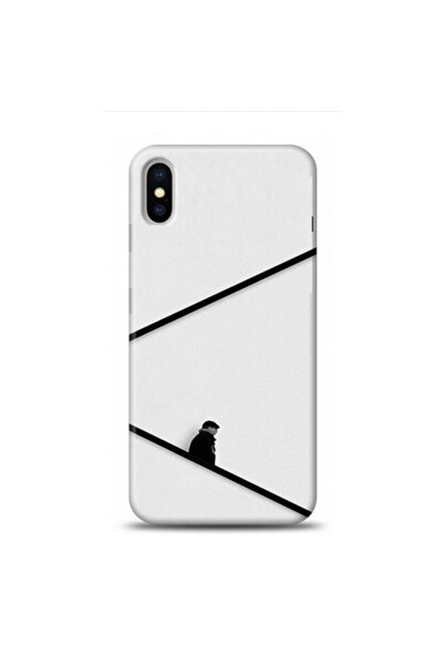 EXCLUSIVE Apple Iphone Xs Black And White Minimalist Desenli Telefon Kılıfı