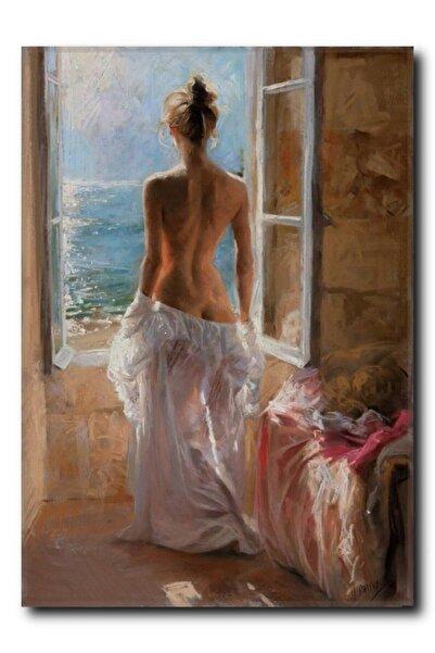 La Vita e Bella Pencereden Bakan Kadın Kanvas Tablo Nu-1008
