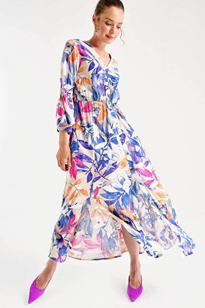 Bigdart 2000 Desenli Beli Lastikli Elbise