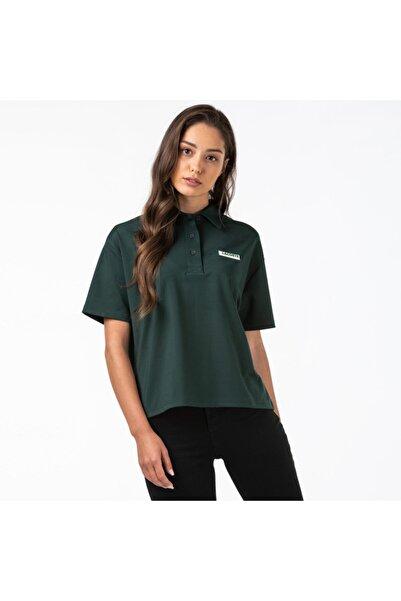 Lacoste L!ve Kadın Loose Fit Haki Polo Yaka T-Shirt