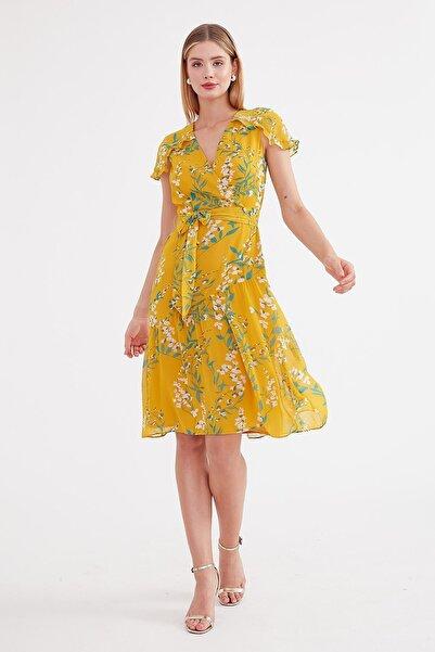 Journey Elbise-omuz Üstü Volan Parça Detaylı, Üst Kruvaze,bel Bağlamalı