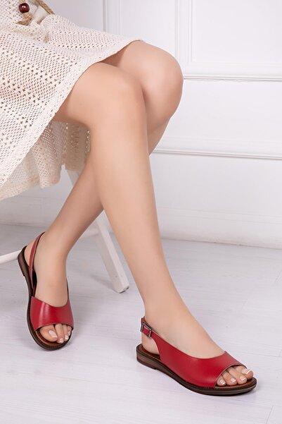 Deripabuc Hakiki Deri Kırmızı Kadın Deri Sandalet Dp-0076
