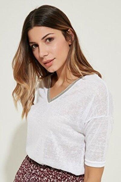 Kadın V Yaka T-shirt Ekru