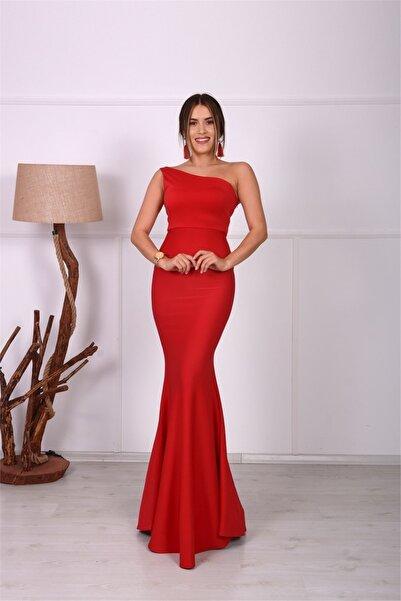 giyimmasalı Tek Kol Balık Abiye Elbise - Kırmızı