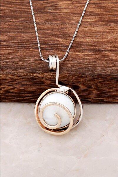 Sümer Telkari Kadın Sedef Taşlı Tasarım Gümüş Kolye 6448