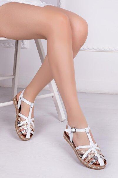 Deripabuc Hakiki Deri Beyaz Kadın Deri Sandalet Rma-7181
