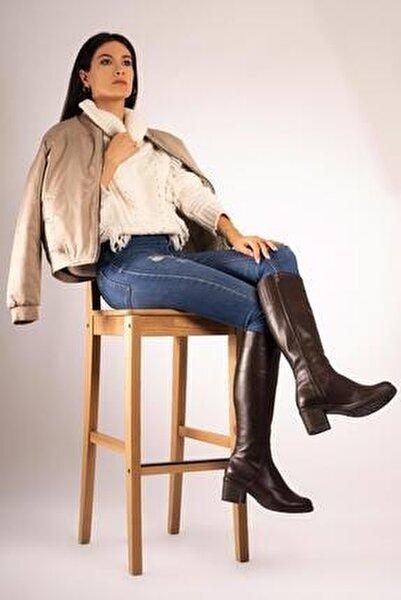 Hakiki Deri Kalın Taban Topuklu Çizme Fermuarlı Kışlık Uzun Boy