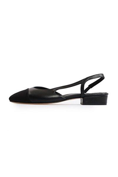 Flower Siyah Grogren Düz Sandalet