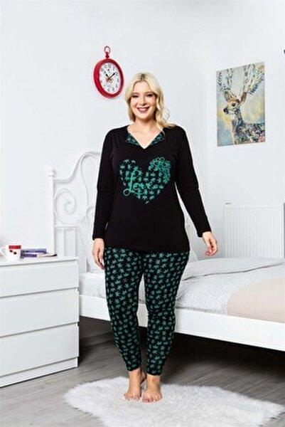 Büyük Beden Pijama Takımı V-yaka Çiçek Desenli Uzun Kollu Battal Beden Taytlı Pijama Takımı 16114