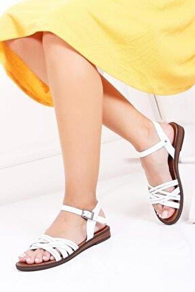 Hakiki Deri Beyaz Kadın Deri Sandalet Dp-0013