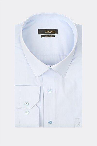 Jakamen Mavi Tek Cepli Büyük Beden Klasik Gömlek
