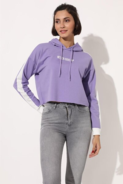 TENA MODA Kadın Lila Never Gıve Up Sweatshirt