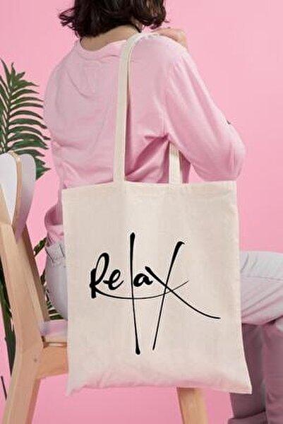 Relax Baskılı Ham Bez Çanta