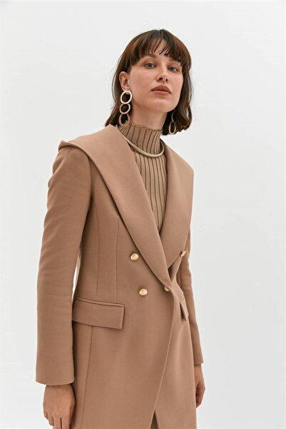 rue. Camel Kapüşonlu Uzun Blazer Ceket
