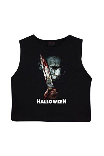 fame-stoned Halloween Crop Top Baskılı Göbek Üstü-yarım T-shirt