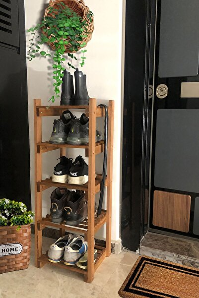 Grootland Ahşap Çok Amaçlı Raf/kitaplık/ayakkabılık Ceviz Rengi