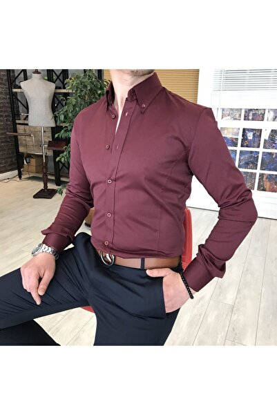 TerziAdemAltun Italyan Stil Slim Fit Dik Yaka Saten Erkek Gömlek Bordo T4742