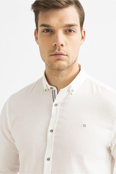 Avva Erkek Beyaz Armürlü Düğmeli Yaka Slim Fit Gömlek A01y2013