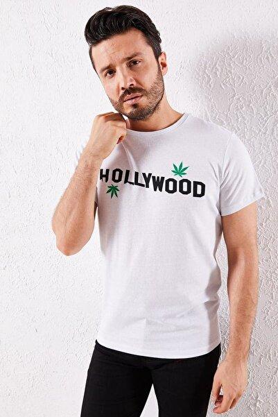 Zafoni Erkek Hollyweed Baskılı Beyaz Tişört