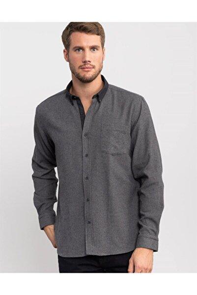 Tudors Klasik Fit Kışlık Gri Erkek Gömlek