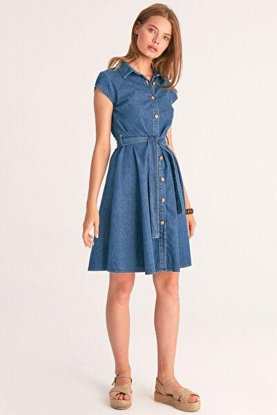 Fulla Moda Kuşaklı Kot Elbise