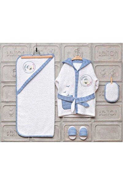 Bebitof Erkek Bebek Denizci Bornoz Seti 0-3 Yaş 10030019 (24 Saatte Kargo)