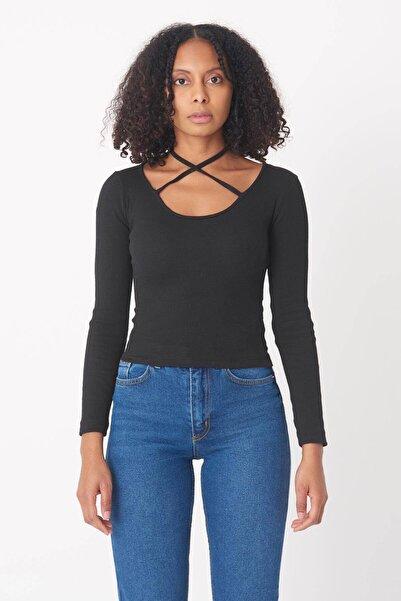 Addax Kadın Siyah Boyun Askılı Bluz B1334 - I13 ADX-0000023409