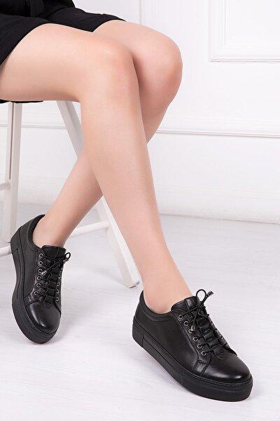 Deripabuc Hakiki Deri Siyah Kadın Deri Sneaker Trc-0689