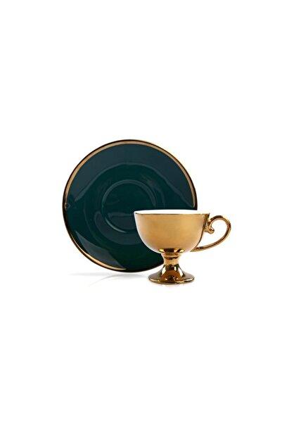 Sembol Altın Yeşil Ayaklı 6 Kişilik Türk Kahvesi Fincanı
