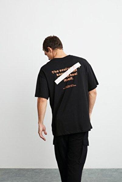 Mark Erkek Siyah Önü Ve Arkası Turuncu Baskılı Kısa Kollu Oversize T-shirt