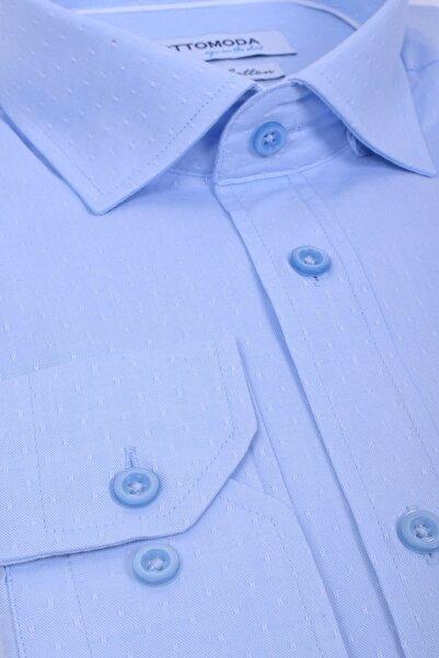 Ottomoda Uzun Kollu Desenli Erkek Gömlek Açık Mavi