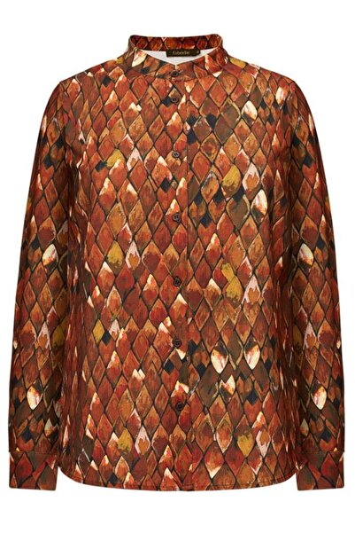 Faberlic Kahverengi Firebird Desenli Uzun Kollu Bluz 50 Beden
